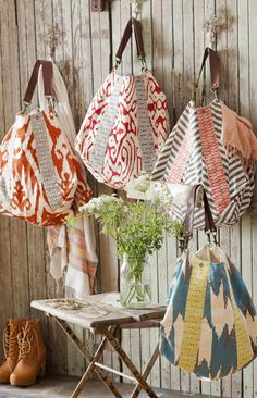 slouchy ikat bags. these are so adorable!!