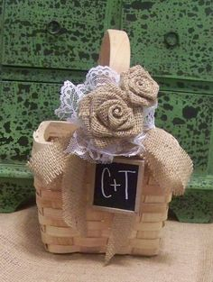 Rustic Burlap and Lace Flower Girl's Basket with Chalkboard