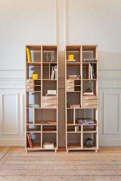 Open solid wood #bookcase PIROUETTE by MR MARIUS @mrmariusparis
