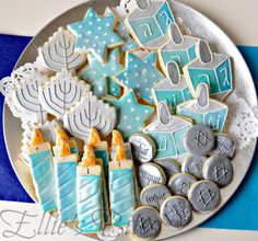 Hanukkah cookie platter.