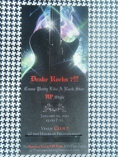 """Love the wording!!!!Photo 1 of 20: Rock Star / Birthday """"Drake's Rock Star Party for 7th Bday"""" 