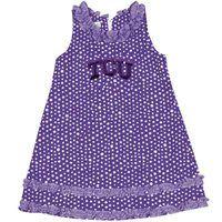 TCU Horned Frogs Infant Girls Ruffle Polka Dot Dress
