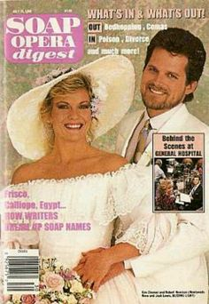 GL Josh and Reva  [Robert Newman & Kim Zimmer] wedding picture SOAP OPERA DIGEST cover 1989
