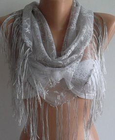 Grey / lace and Elegance Shawl / Scarf  with Lace Edge by womann,