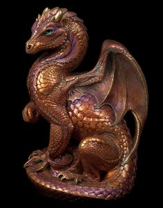"WINDSTONE ""COPPER PATINA #1"" SECRET KEEPER DRAGON FIGURINE; FANTASY STATUE"