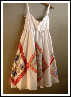 Baby Doll Summer Dress, Bohemian Style, Made with Vintage Hankies, Handsewn, OOAK, Cottage Chic, Size Small
