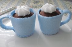Two Light Blue Mugs of Hot Chocolate Eco by FeltFakeryBakery, $10.00