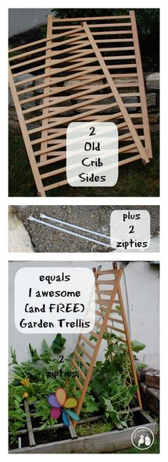 Old Crib to Up-cycled Garden Trellis
