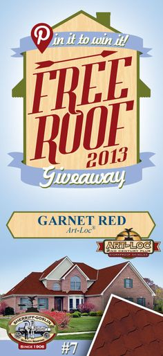 Re-pin this gorgeous Art-Loc Garnet  Shingle for your chance to win in the Sherriff-Goslin Pin It To Win It FREE ROOF Giveaway. Available in Sherriff-Goslin service area only. Re-pin weekly for more chances to win! | Stay Updated! Click the following link to receive contest updates. http://www.sherriffgoslin.com/repin Learn More about this shingle here: http://www.sherriffgoslin.com/tabbed.php?section_url=140