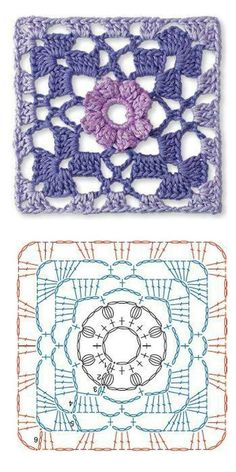 Crochet granny flower diagram.
