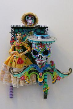Dia De Los Muertos assemblage, sugar skull, doll