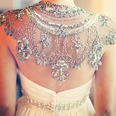 wedding gown beaded cape. This is so gorgeous! I'd actually wear a backless dress if I could wear something like this.
