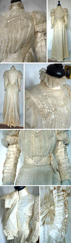 Wedding gown ca. 1895. Ivory silk damask and tulle, with faux pearls applied on bodice. Silk ribbon at waistline. Antique-Gown.com