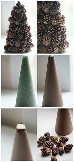 diy pinecone christmas tree decoration - just hot glue pine cones to a styrofoam cone.