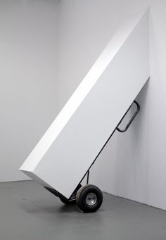 'Untitled (bargain)' by Ashley Carter, 2013. Handtruck, drywall, paint