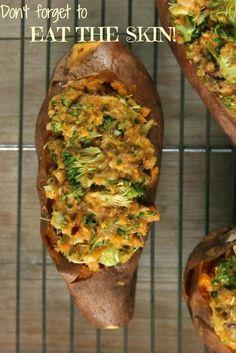 Vegan Broccoli & Walnut Stuffed Sweet Potatoes