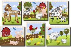 Set of 6 Farm Animal Baby Nursery Childrens Bedroom by ToadAndLily, $30.00