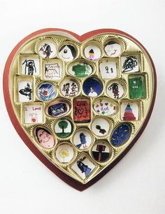 """[ Love Box - """" a callaboration in mixed media """" / Children's Art Therapy ] collect heart shaped ones around Valentines's Day - ask teachers to donate their empty boxes to you... Use for a grief/loss group activity"""