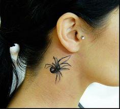 3D black spider neck tattoo