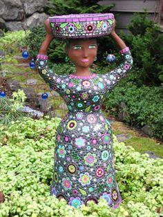 garden planters, veggie gardens, garden mosaics, garden art, flower dresses, bird baths, garden statues, mosaic tiles, mosaic art