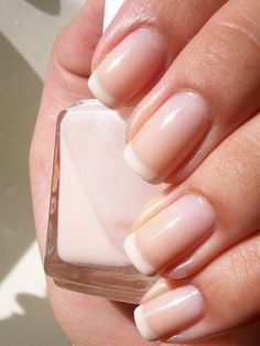 DIY :: French Tip :: Essie Marshmallow...on tips (French Mani: 1 coat each...Base: Essie Real Simple, Tips: Essie Marshmallow, Top: Essie My Way)
