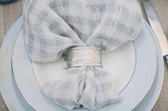 Blue & Silver Winter Wedding Table Decorations - Napkins, Napkin Holders, & Plates