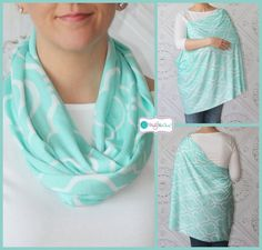 Aqua Quatrefoil Hold Me Close Nursing Scarf, Nursing Cover, Infinity Nursing Scarf  Infinity nursing scarf! Such a great product, I can wear it as a regular scarf when I am not using it. Very comfy and light for baby. Highly recommend. This would make an excellent baby shower gift!