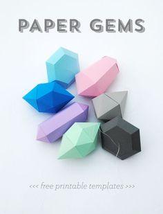 #Free printable templates #Paper gems