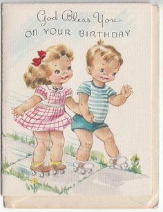 Small Vintage God Bless You Children on Skates Birthday Greeting Card ~ Unused