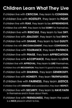 Children learn what they live.