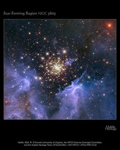 Cluster  surrounded by clouds of interstellar gas and dust—the raw material for new star formation. The nebula, located 20,000 light-years away in the constellation Carina, contains a central cluster of huge, hot stars, called NGC 3603. - Credit: NASA, ESA, and the Hubble Heritage Team (STScI/AURA)