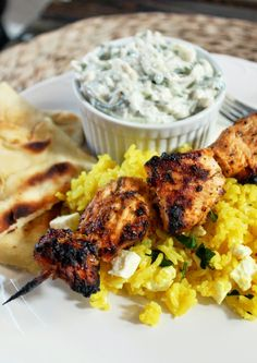 Greek Chicken Kabobs with Yellow Feta Rice and Tzatziki Sauce