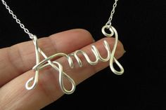 Personalized Name Necklace, Personalized Name, Custom Name Necklace, OMG Necklace, Sterling Silver Wire Name Necklace. $34.50, via Etsy.