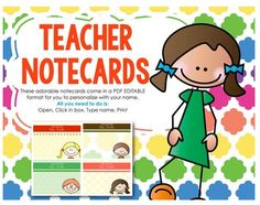 """FREE LESSON - """"FREEBIE - Editable Teacher Notecards"""" - Go to The Best of Teacher Entrepreneurs for this and hundreds of free lessons.  Pre-Kindergarten - 6th Grade  #FreeLesson    http://www.thebestofteacherentrepreneurs.net/2014/08/free-misc-lesson-freebie-editable.html"""
