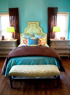 Teal, Lime Green, and Chocolate Brown Bedroom via junkgarden: Dream When You're Feeling Blue