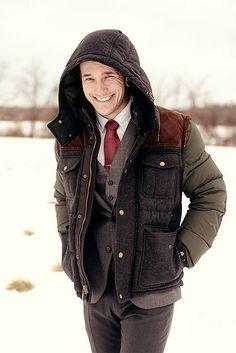 Formal 3 piece; casual coat - nice mix