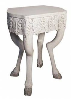 Proctor Carved Wood White Side Table | Mecox Gardens