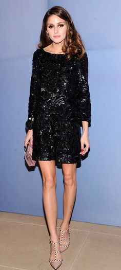 Marchesa black beaded dress and Valentino nude studded pumps - Perfect for a Holiday party or night out.