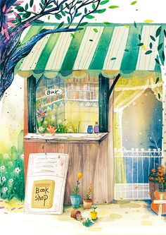 bookstor visit, shops, bookshop dream, watercolor art coffee, book shopping, read, illustr, book lover, beauti watercolor