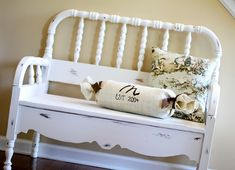 Tutorial for repurposing a crib or headboard into a bench.