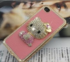 Hello Kitty Luxury Pink leather Rhinestone Crystal Case Cover for iPhone 4 4S:Amazon:Cell Phones & Accessories