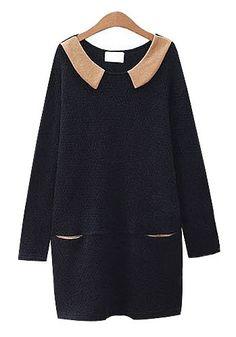 Black Long Sleeve Above Knee Cotton Blend Dress