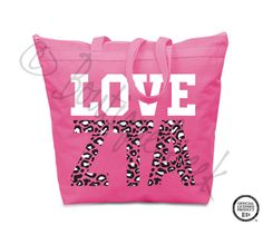 Zeta Tau Alpha Leopard Love Tote - ZTA Collection. Design Exclusive to BoutiqueGreek.com