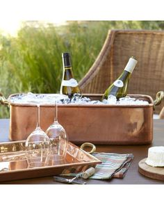 This copper tub from Williams Sonoma is everything - great for outdoor entertaining
