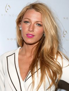 Rose Gold Blonde Blake Lively  Rona O'Conner Lively's colorist mixes golden, honey & apricot hughes to create the multidimensional color. she finnishes with nearly ivory highlights around the front to brighten her face.  use Goldwell Dual Senses Rich Repair 60-second treatment for up keep.
