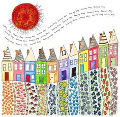 An art journal page of little houses by fiona willis