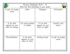 This activity is a great way to review various language and characteristics of poetry in a fun way. Two levels of scavenger hunts help you work wit...