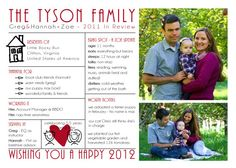 New Year's Family Update Card..cute idea