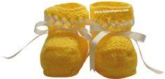 tutorial: zapatitos con detalle en hilo tejidos en dos agujas o palillos