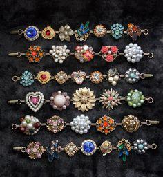 So fun! Stunning Upcycled Vintage Jewelry Bracelet  via Etsy.